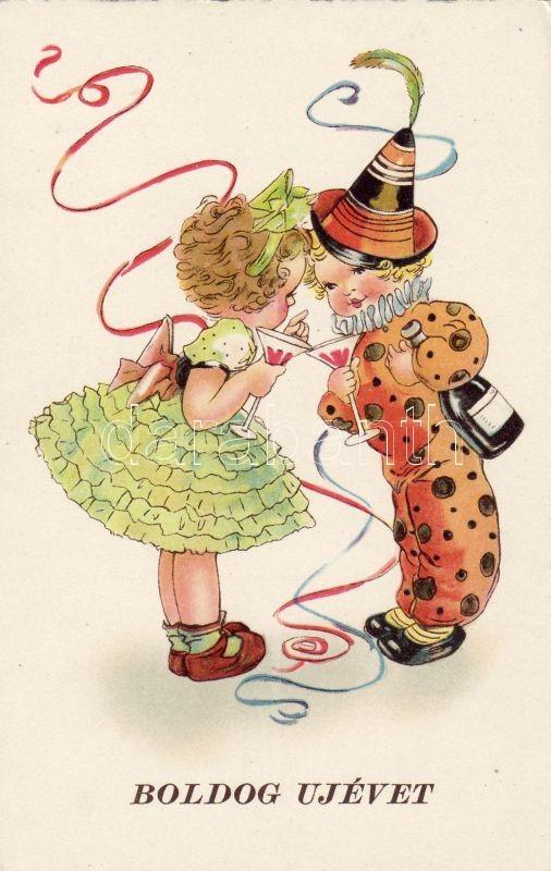 New Year, clown children, champagne, Újév, bohóc gyerekek, pezsgő