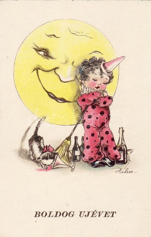 New Year, clown child, champagne, moon, cat s: Hulsse, Újév, bohóc gyerek, pezsgő, hold, macska s: Hulsse