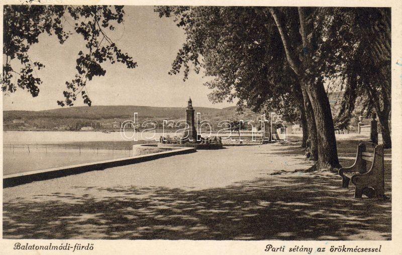 Balatonalmádi-fürdő, parti sétány, örökmécses
