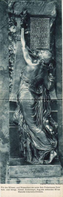 Auguszta´s speech, monument, charity, folding card, Auguszta Főhercegnő emlékmű, a 40. honvéd gyalogosztály özvegy-, és árvaalapja javára, kinyitható lap