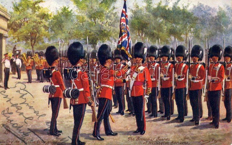 London, Wellington Barracks, Grenadier Guards, Raphael Tuck & Sons Oilette 9081. s: Harry Payne