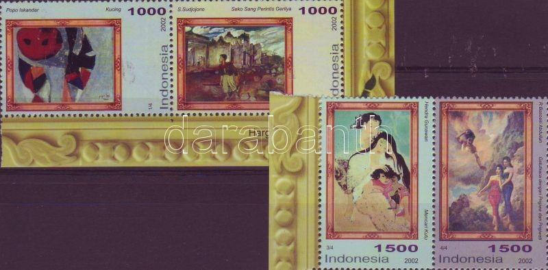 Paintings 1 margin pair + 1 corner one, Festmények 1 ívszéli és 1 ívsarki pár, Gemälde 2 Paare mit Rand