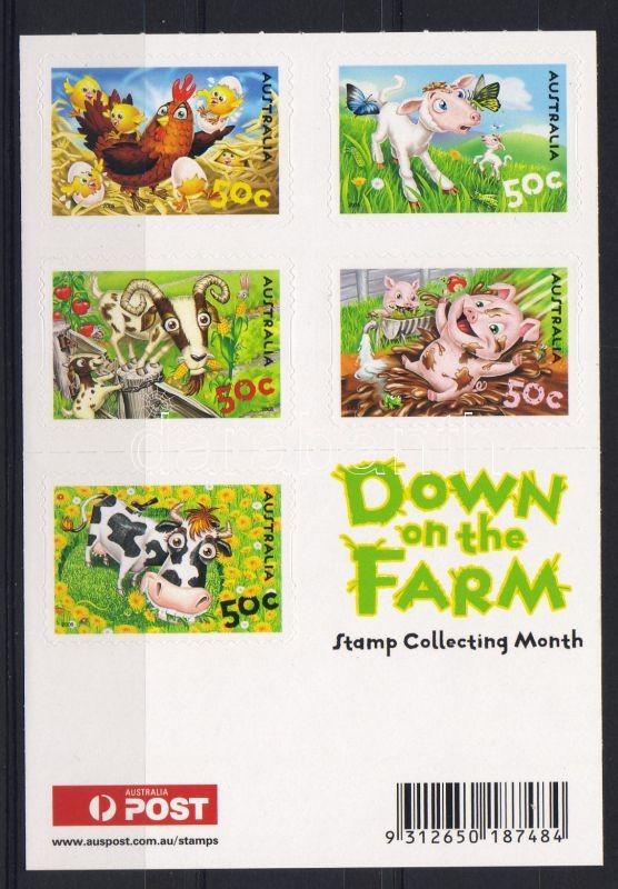 Farmtiere 5x50C Markenheftchen, A farmon, háziállatok 5x50C bélyegfüzet, Farm, domestic animals 5x50C stamp booklet