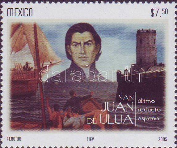 Johannes Nepomuk margin stamp, Uluai Szent János ívszéli bélyeg, San Juan de Ulua Marke mit Rand
