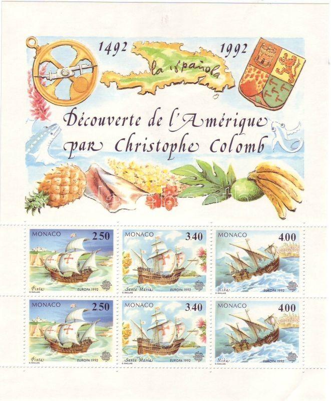Europa CEPT, 500th anniversary of the discovery of America block, Europa CEPT, 500 éve fedezték fel Amerikát blokk, Europa CEPT, 500 Jahrestag der Entdeckung von Amerika Block