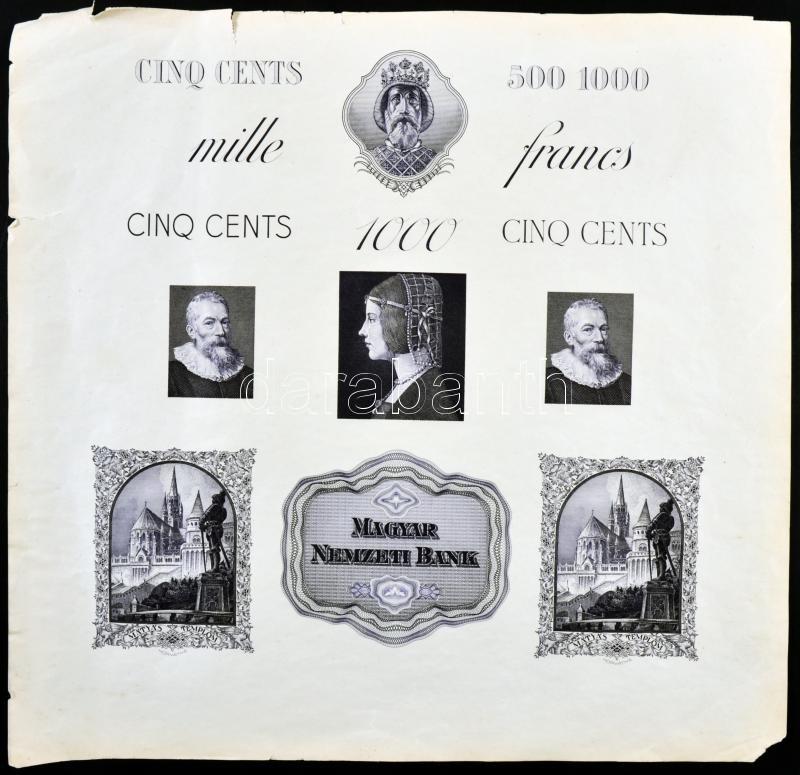 Endre Horváth's copperplate of unissued banknote designs (31x30,5cm), Horváth Endre (1896-1954) megvalósulatlan bankjegy tervezeteinek rézmetszete (31x30,5cm)