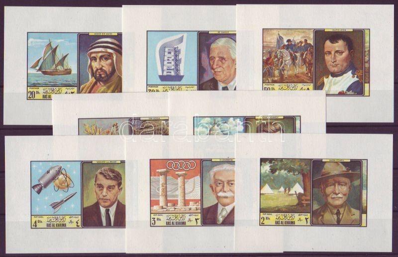 Personalities 8 imperforated blocks, Személyiségek vágott 8 blokk, Persönlichkeiten 8 ungezähnten Blöcke