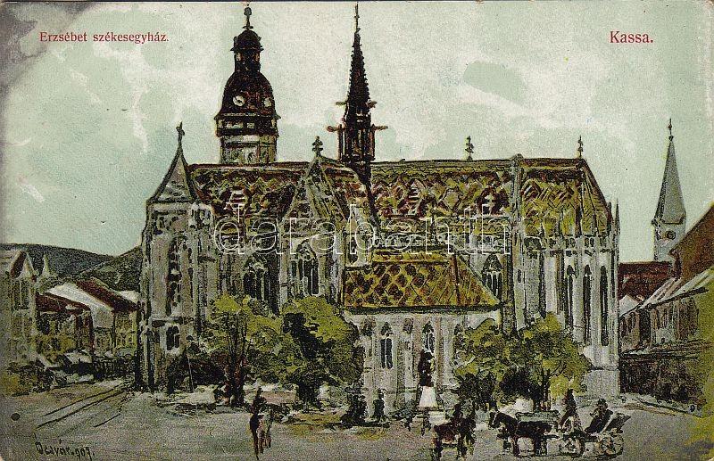 Kosice, St.Elisabeth Cathedral, artist signed, Kassa, Erzsébet székesegyház, Nyulászi Béla kiadása, szignózott