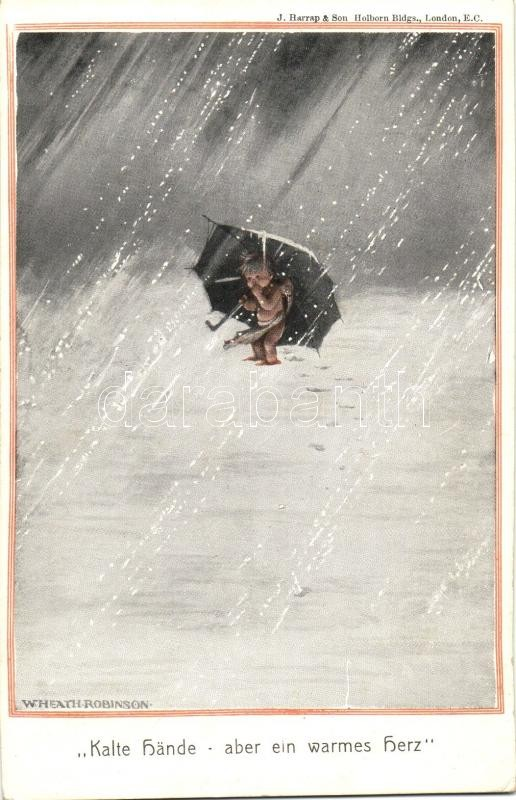 Kalte Hände, aber ein warmes Herz / Child, Nr. 639 s: W. Heath. Robinson Az ínyenc, kisgyerek, kakas, humor, W.S.S.B. 8531/1. Nr. 639 s: W. Heath. Robinson