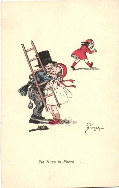 Ein Kuss in Ehren... / Chimney sweeper, girls, kiss, humour, Amag H. 48., Kéményseprő, lányok, csók, humor, Amag H. 48.