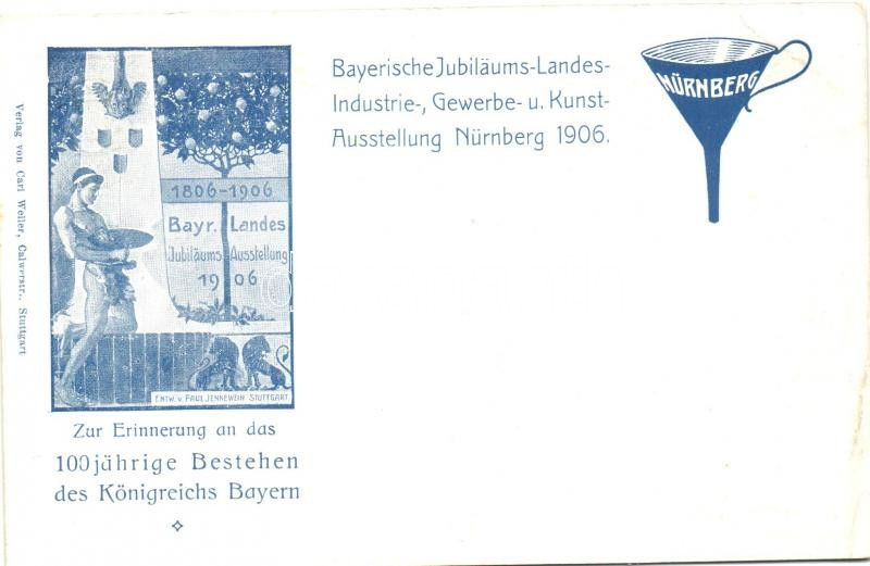 1906 Nürnberg, Bayerische Jubilaums Landes-, Industrie-, Gewerbe Kunstaustellung / Bavarian National Jubilee Exhibition, advertisement; Maximilian Joseph, Prinzregent Luitpold, 2 Pf. Ga. s: Paul Jennewein