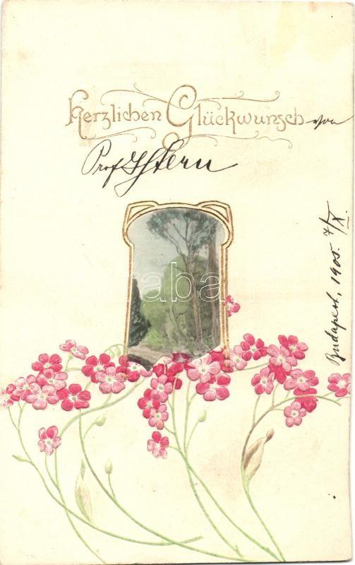 Greeting card, floral, Raphael Tuck & Sons Nr. 524B Emb. litho Üdvözlőlap, virágok, Raphael Tuck & Sons Nr. 524B Emb. litho