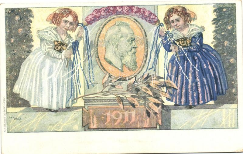 1821-1911 Luitpold, Prince Regent of Bavaria, obituary card, 5 Pf. Ga. s: Ivi Diez