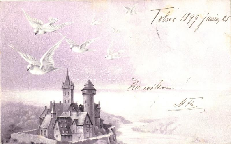 1899 Castle with doves, litho, 1899 Kastély galambokkal, litho