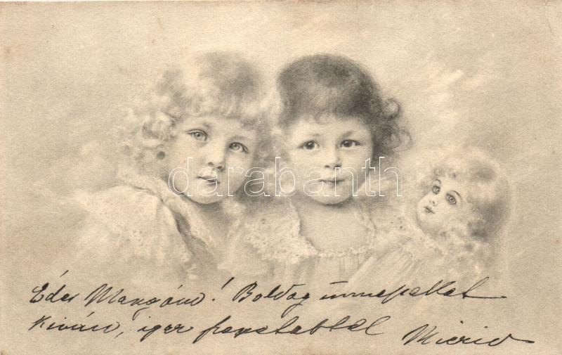 Girls with doll, M. Munk Vienne, Kislányok babával, M. Munk Vienne