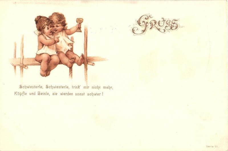 Children, greeting card, Serie VI. litho Gyerekek, üdvözlő lap, Serie VI. litho