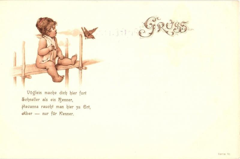 Child, greeting card, Serie VI. litho, Gyerek, üdvözlő lap, Serie VI. litho