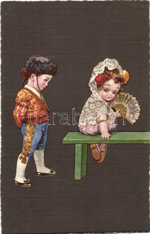 Spanish children, Italian art postcard, Ultra CMD 2034., unsigned Colombo Spanyol kisgyerekek, Olasz művészlap, Ultra CMD 2034., szignózatlan Colombo