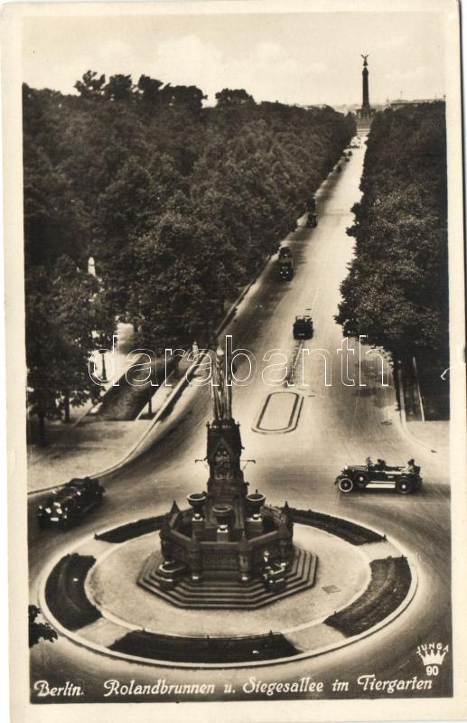 Berlin, Rolandbrunnen, Stegesallee, Tiergarten / fountain, alley, zoo, automobiles