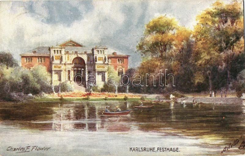 Karlsruhe, Fetshalle; Raphael Tuck & Sons Oilette Serie Karlsruhe No. 638. s: Charles F. Flower