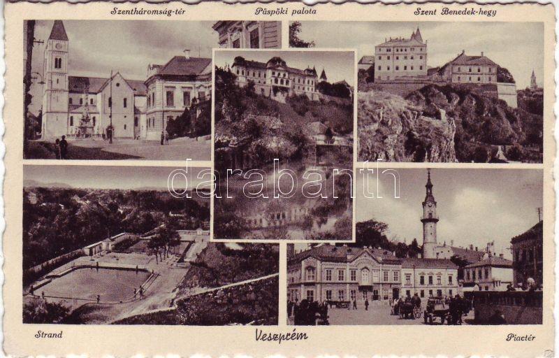 Veszprém, Szentháromság tér, Püspöki palota, Szent Benedek hegy, strand, Piactér