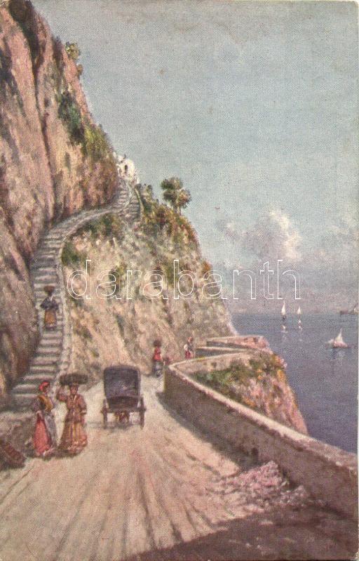 Capri, Strada e scala per Anacapri s: G. Carelli