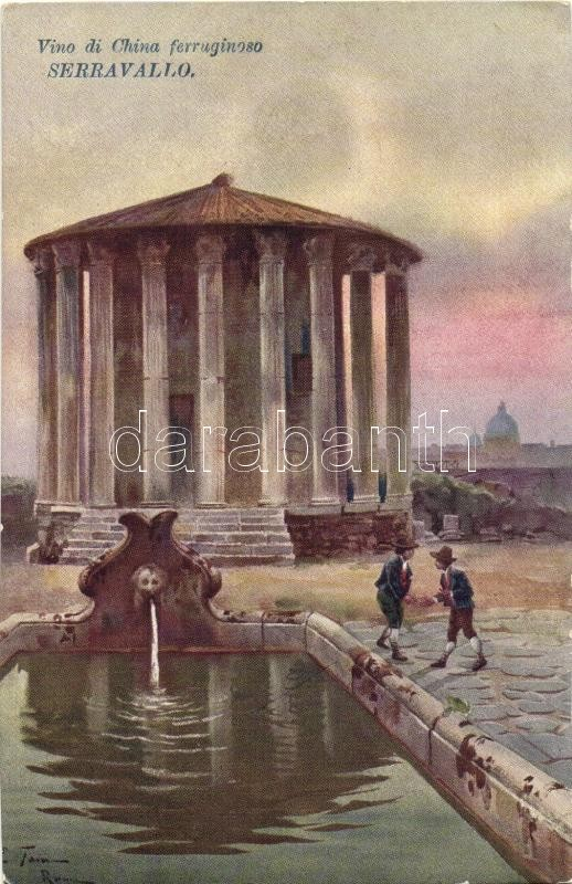 Rome, Roma; Tempio di Vesta, Fontana / temple, fountain; Serravallo Vino di China advertisement, artist signed