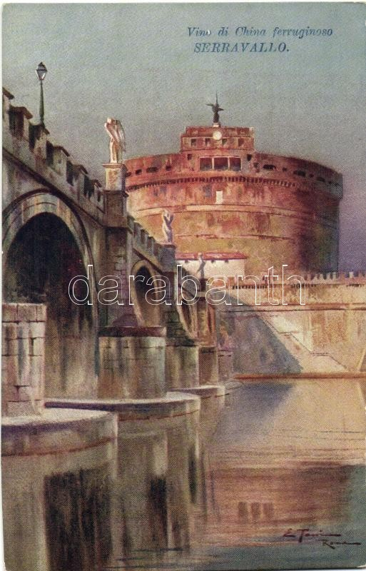 Rome, Roma; Ponte e Castello S Angelo / bridge, castle; Serravallo Vino di China advertisement, artist signed
