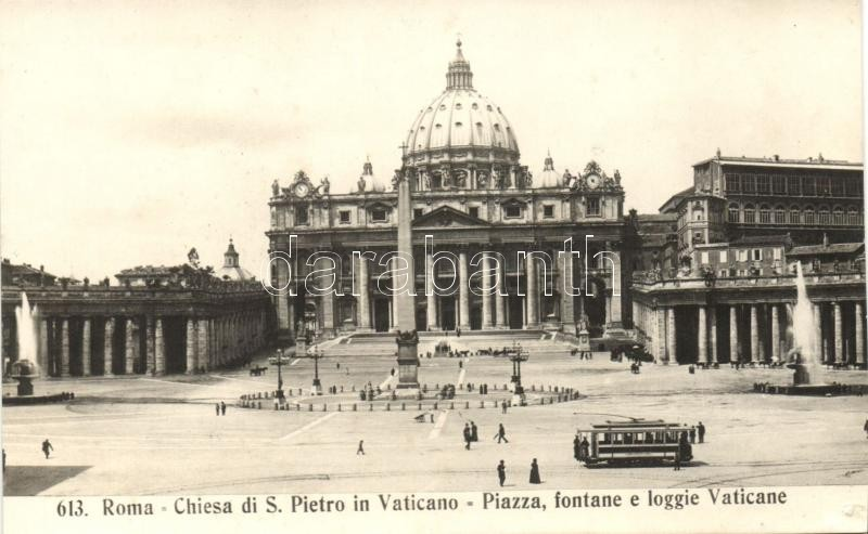 Rome, Roma; S. Pietro church, square, fountain, tram