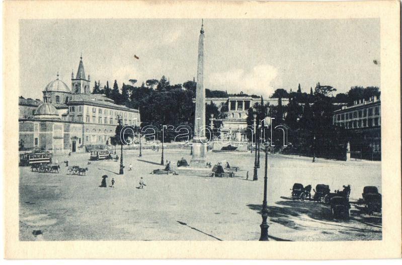 Rome, Roma; Piazza del Popolo, Monte Pincio / square, mountain