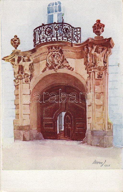 Székesfehérvár, Gróf Zichy ház kapuja, Márton J. tanár kiadása s: Márton J.