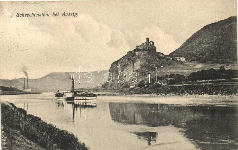 Ústí nad Labem, Aussig; Strekov Castle, Schreckenstein; steamship