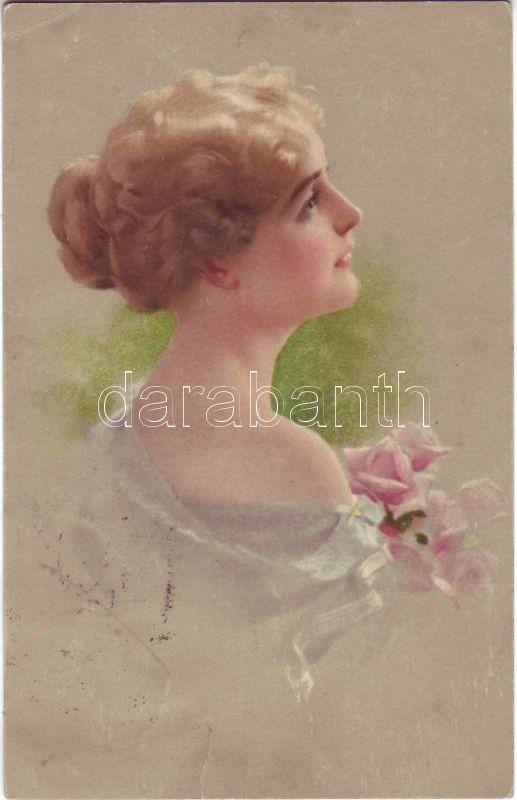 Woman, flowers, Nr. 1002 pinx. M. Munk, Hölgy, virág, Nr. 1002 pinx. M. Munk