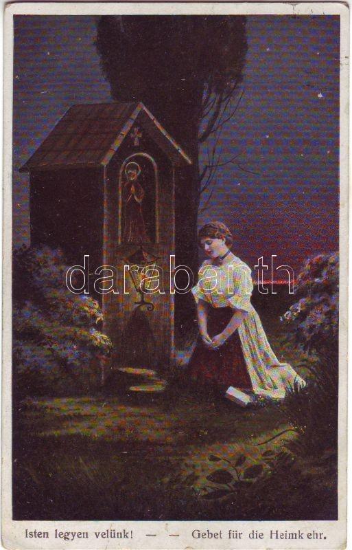 'God be with us' Praying woman litho, 'Isten legyen velünk' Imádkozó nő, litho