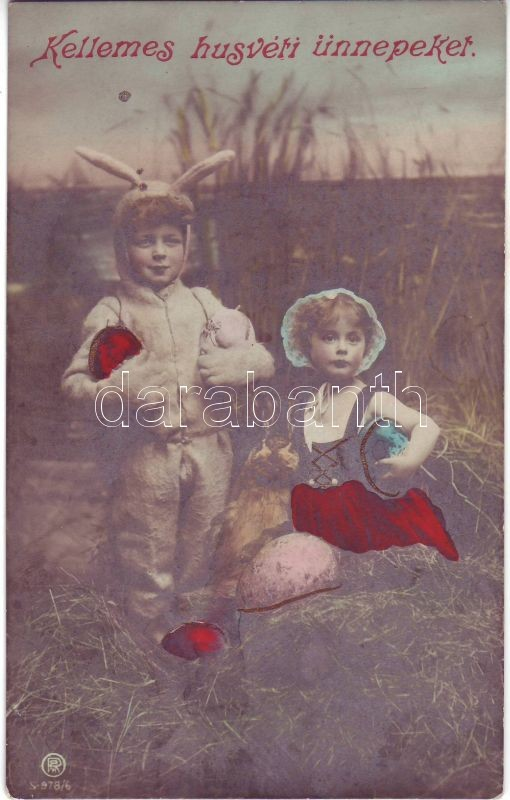 Húsvéti üdvözlőlap, gyerekek, nyúl jelmez, Easter greeting card, children in costume
