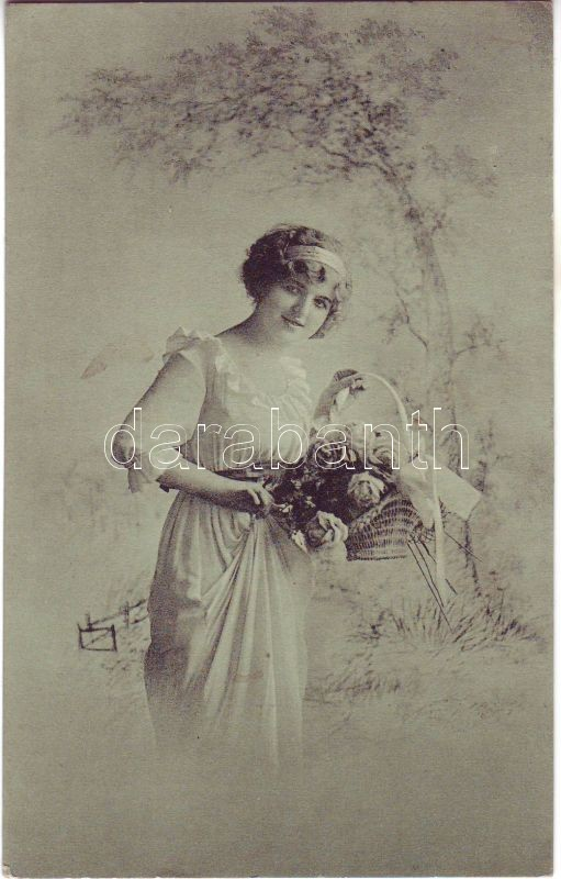 Woman with flower basket  'Nordische Kunstanstalt Ernst Schmidt & Co., Lübeck', Hölgy virágkosárral 'Nordische Kunstanstalt Ernst Schmidt & Co., Lübeck'