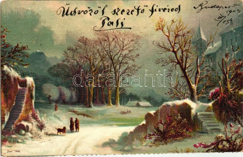 Winter landscape, Ser. 144. litho, Téli táj, Ser. 144. litho