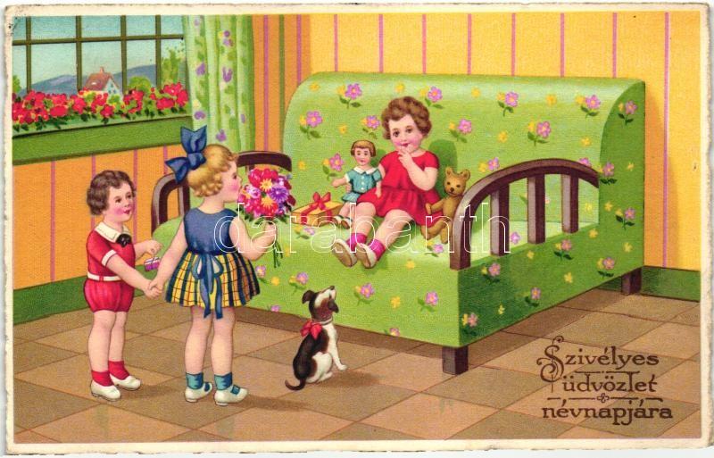 névnapi üdvözlő képek Postcards, Topics, Name day greeting card, children, B.N.K. 4010  névnapi üdvözlő képek