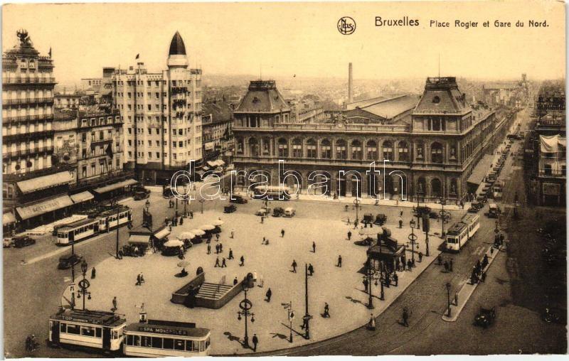 Brussels, Bruxelles; Rogier square, railway station, trams, restaurant