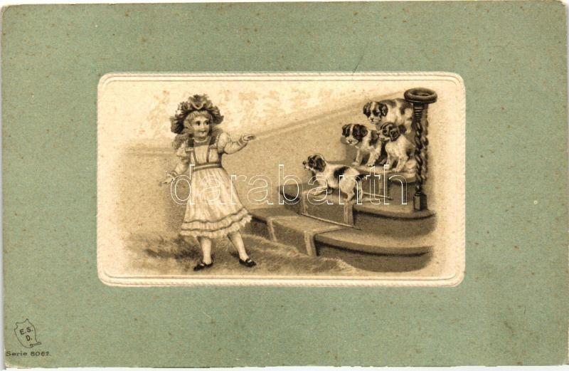 Girl with dogs, E.S.D. Serie 8062. litho, Kislány kutyákkal, E.S.D. Serie 8062. litho