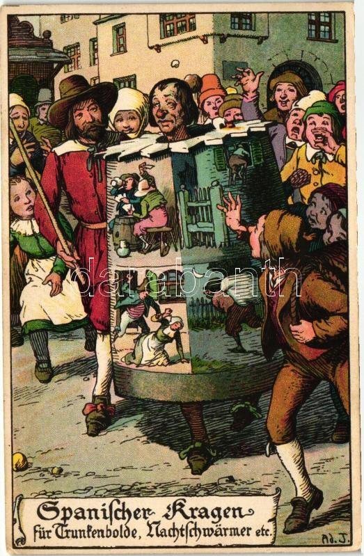 Spanischer Kragen für Trunkenbolde, Nachtwärmer etc. / Middle Ages punishment, E. Nister litho, artist signed, Középkori büntetés, humor litho, szignós