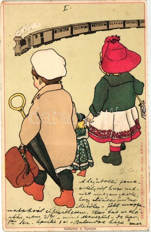 Children, train, Erika Nr. 1455.; Cattarino S. litho