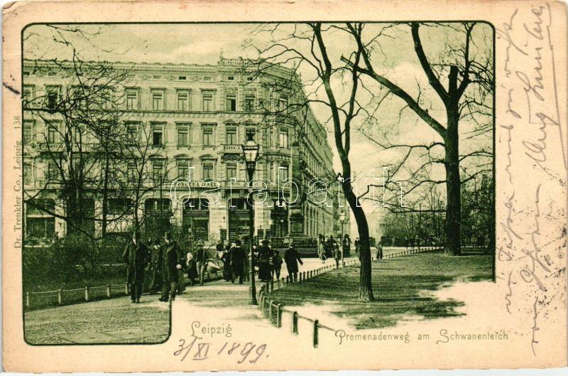 1899 Leipzig, Promenade, Schwanenteich, shop of Bunger & Janke