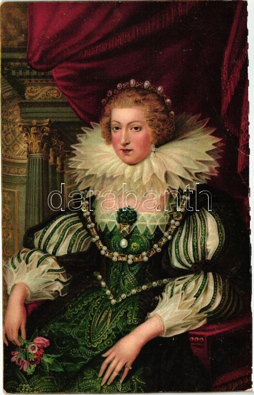 Maria Anna von Österreich, Mariana of Austria, litho s: Peter Paul Rubens