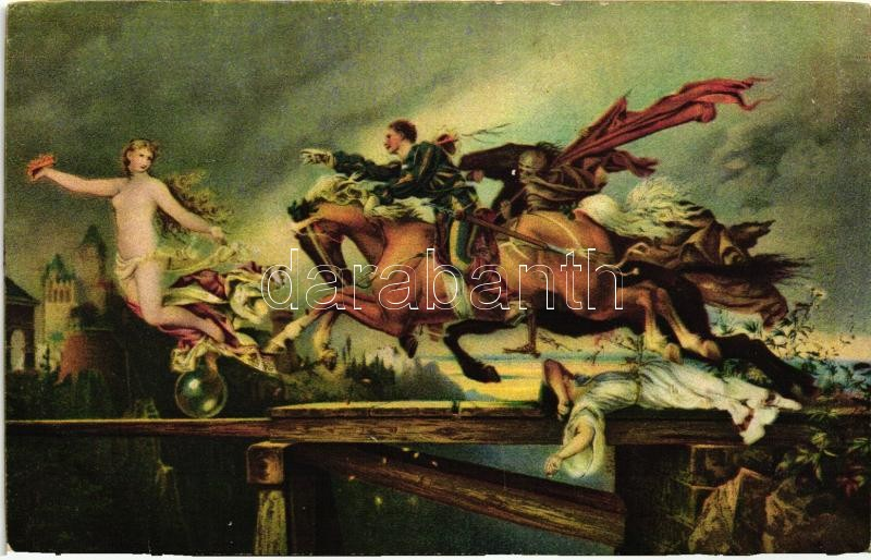 Die Jagd nach dem Glück, Stengel 29749. litho s: Rudolf Henneberg