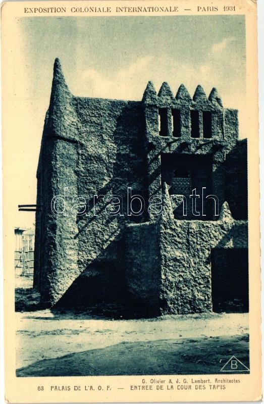 1931 Paris, Exposition Coloniale Internationale; Palace of A.O.F., Entry to the Court of Rugs