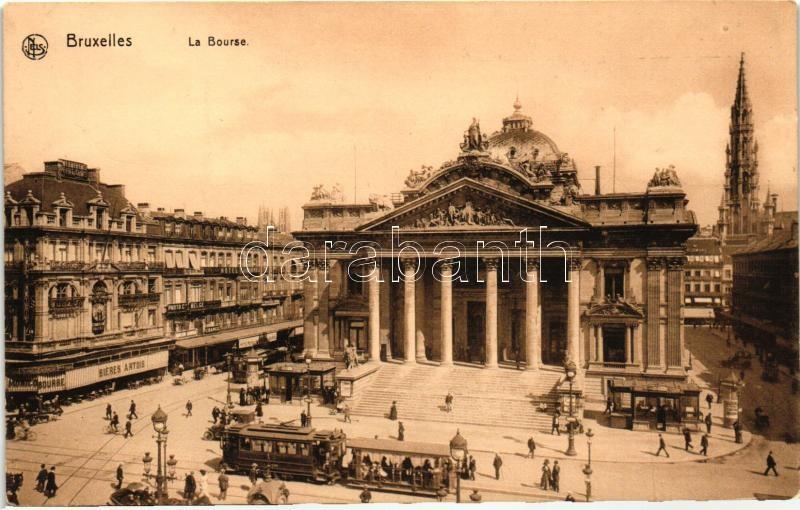 Brussels, Bruxelles; La Bourse, trams, Bieres Artois