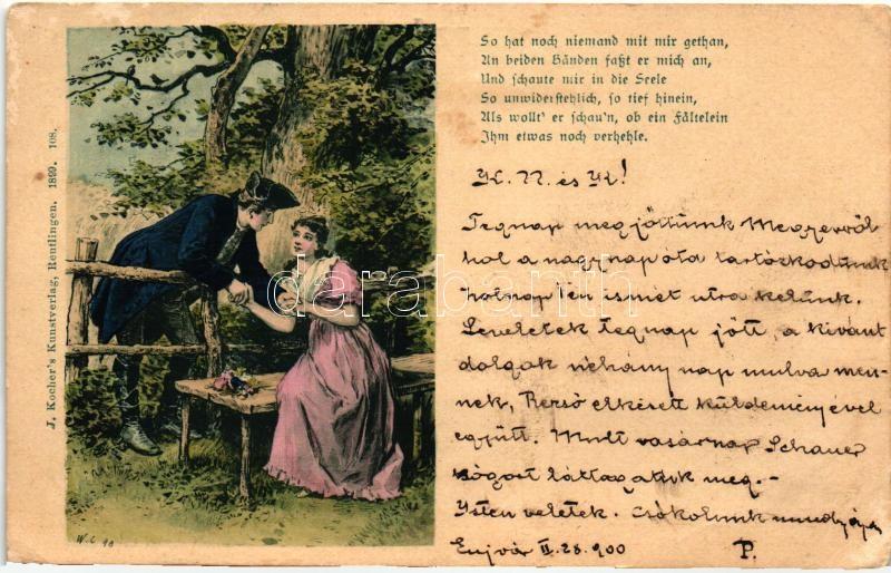 Romantic couple, J. Kocher's Kunstverlag 108., Romantikus pár, J. Kocher's Kunstverlag 108.