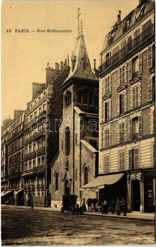 Paris, Rue Brémontier / street, church, restaurant