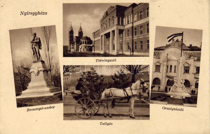 Nyíregyháza, Bessenyei szobor, Törvényszék, Országszázló, Taligás